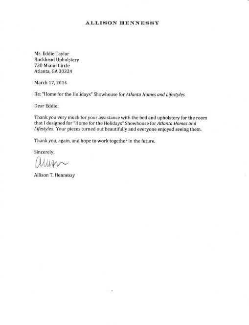 Buckhead Upholstery Thank You Letter